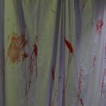 Rideau de douche en sang